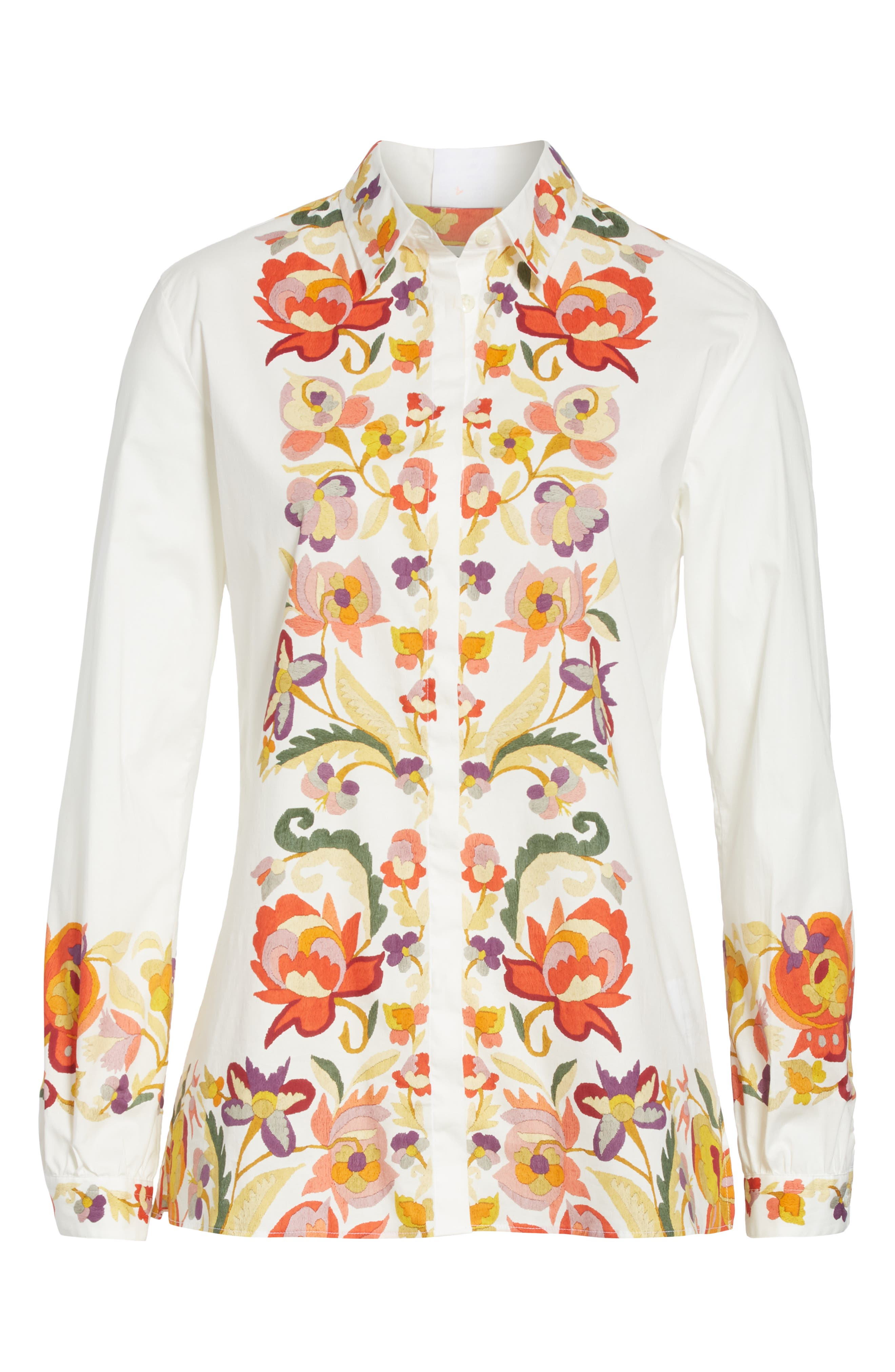,                             Floral Print Stretch Cotton Shirt,                             Alternate thumbnail 6, color,                             WHITE