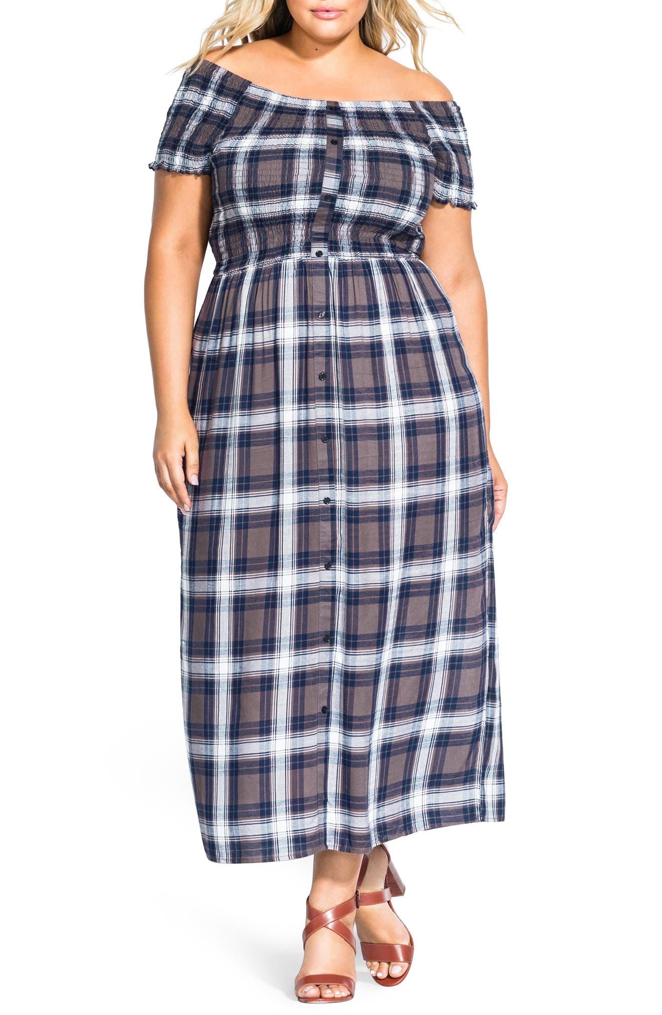 Plus Size City Chic Rebel Check Off The Shoulder Dress, Blue