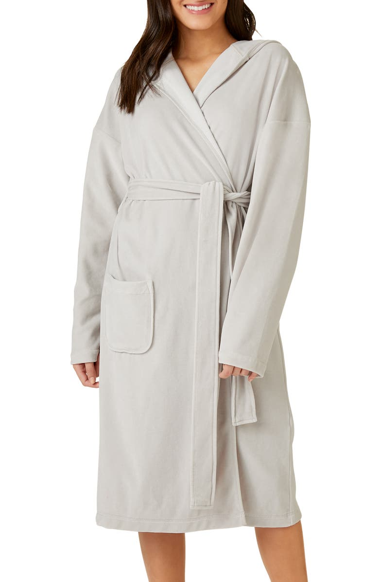 THE WHITE COMPANY Lightweight Hooded Velour Robe, Main, color, SILVER GREY
