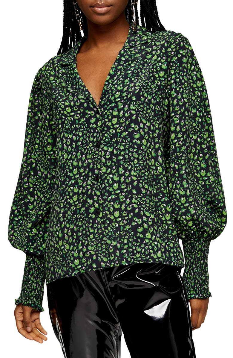 TOPSHOP Print Balloon Sleeve Blouse, Main, color, GREEN MULTI
