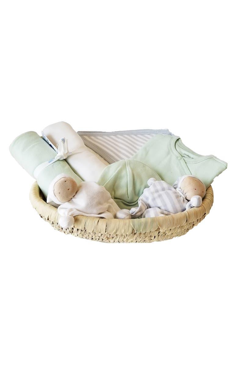 UNDER THE NILE 7-Piece Organic Egyptian Cotton & Palm Basket Gift Set, Main, color, SAGE