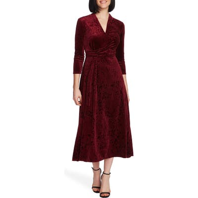 Chaus Paisley Velvet Midi Dress, Burgundy