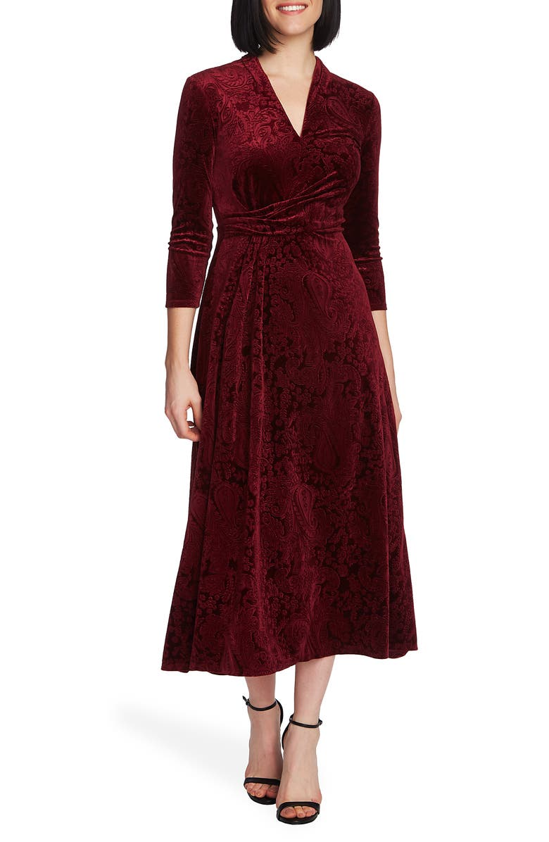 CHAUS Paisley Velvet Midi Dress, Main, color, 930