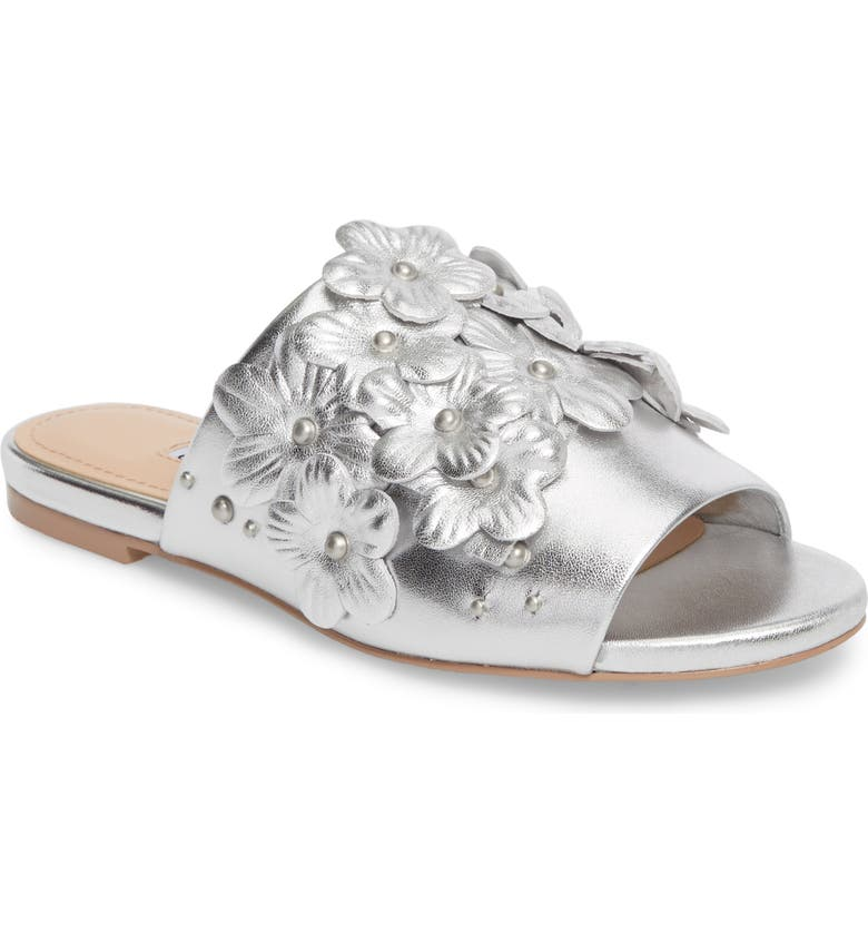 CHARLES DAVID Sicilian Slide Sandal, Main, color, SILVER METALLIC LEATHER