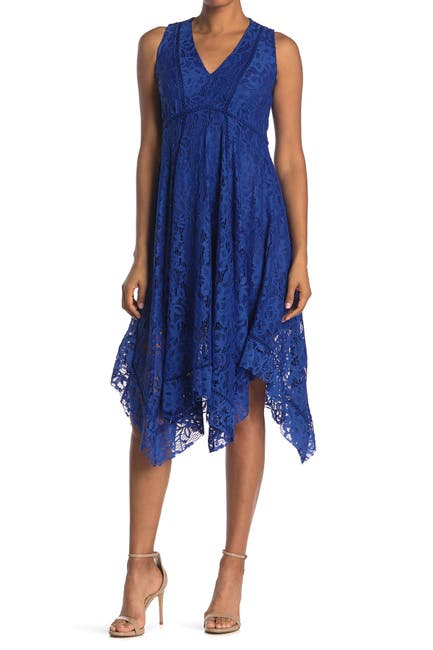 Image of Taylor Lace Asymmetrical Midi Dress