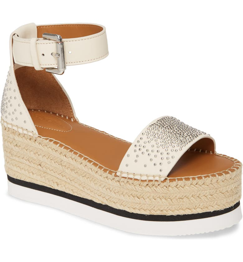 SEE BY CHLOÉ Gyn Platform Espadrille Sandal, Main, color, WHITE
