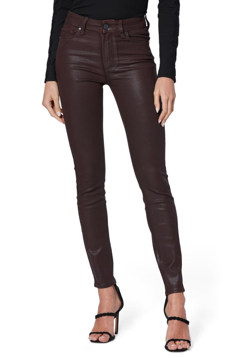 PAIGE Transcend Hoxton High Waist Coated Ankle Skinny Jeans, Main, color, CHICORY LUXE COATED