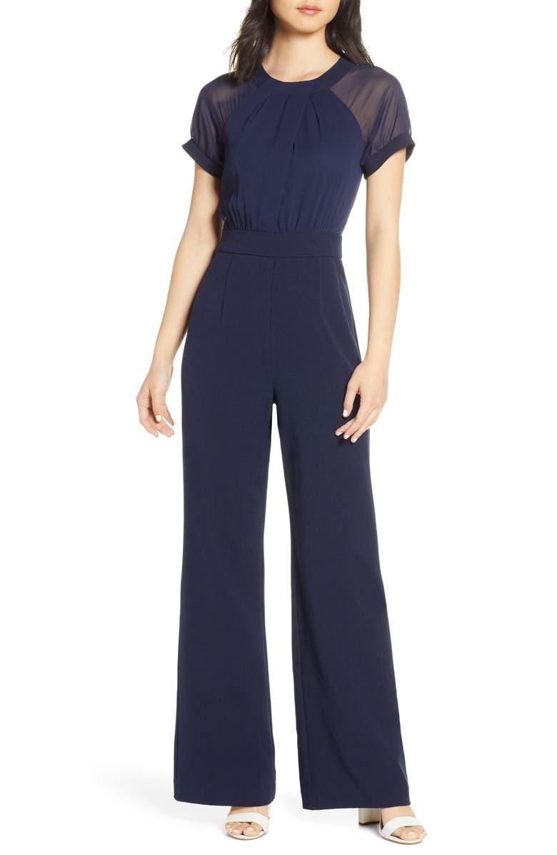 VINCE CAMUTO Crepe Jumpsuit, Main, color, NAVY