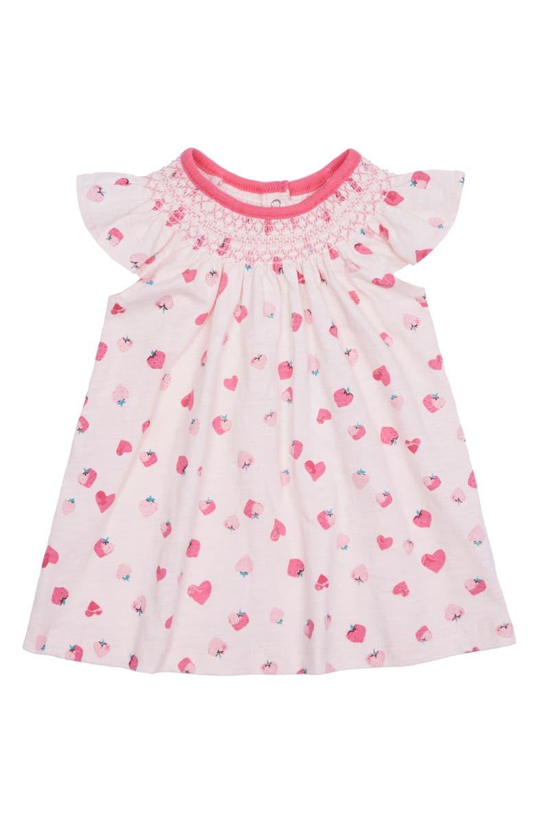 PEEK ESSENTIALS Valentina Strawberry Flutter Sleeve Dress, Main, color, PRINT