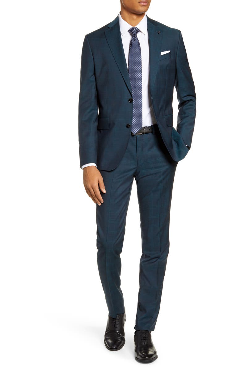 TED BAKER LONDON Roger Slim Fit Plaid Wool Suit, Main, color, BLUE/ GREEN