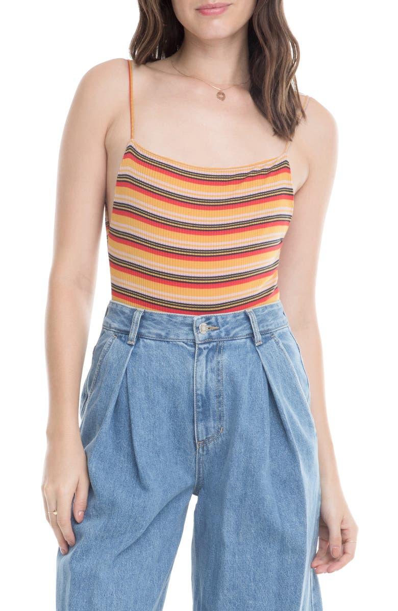 ASTR THE LABEL Tammie Stripe Bodysuit, Main, color, DANDELION/ RED STRIPE