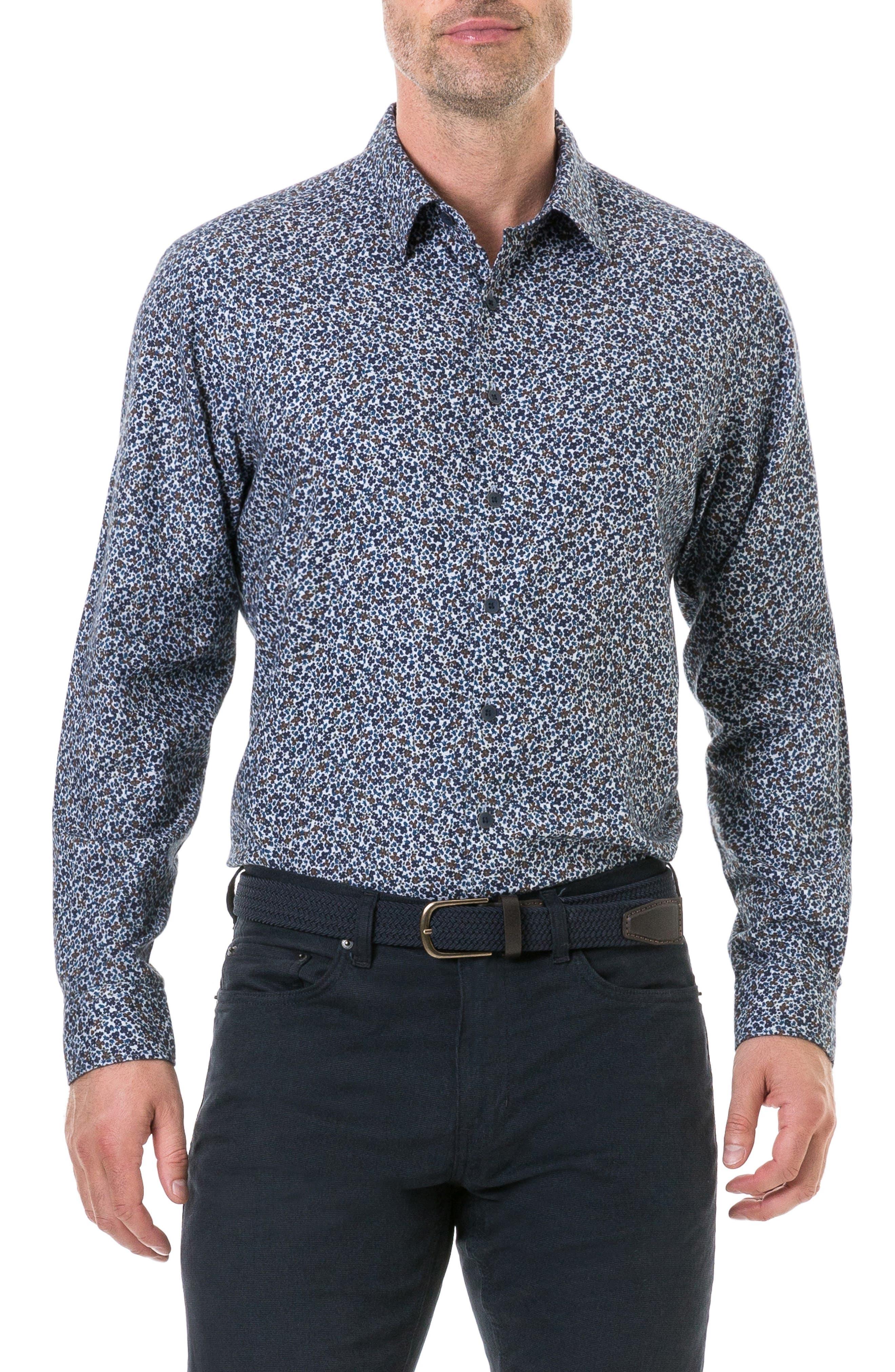 Rodd & Gunn Freys Crescent Regular Fit Flannel Sport Shirt, Blue