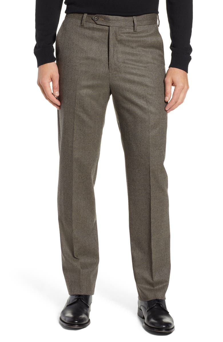 BERLE Flat Front Classic Fit Stretch Houndstooth Wool Dress Pants, Main, color, TAN