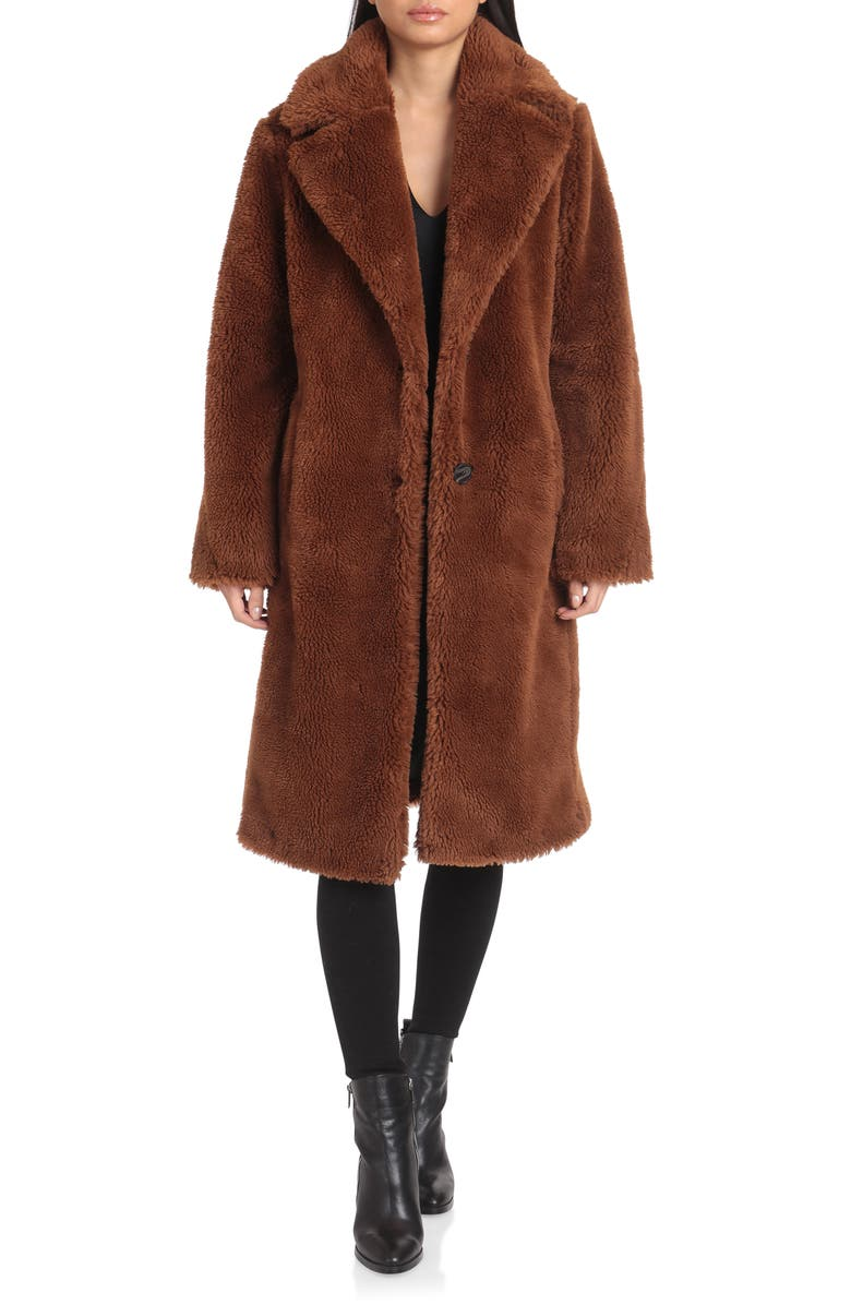 AVEC LES FILLES Teddy Faux Fur Coat, Main, color, CHOCOLATE