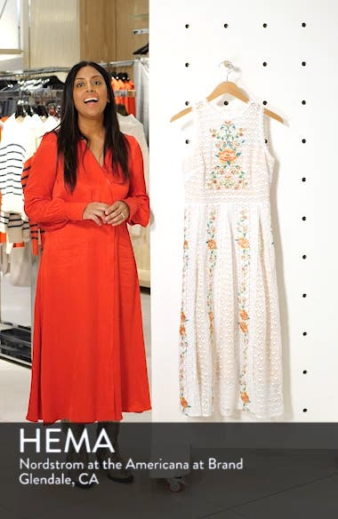 Lori Embroidered Lace Midi Dress, sales video thumbnail