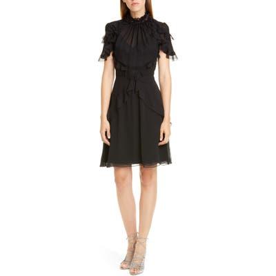 Jason Wu Collection Sequin Neck Ruffle Silk Chiffon Dress, Black