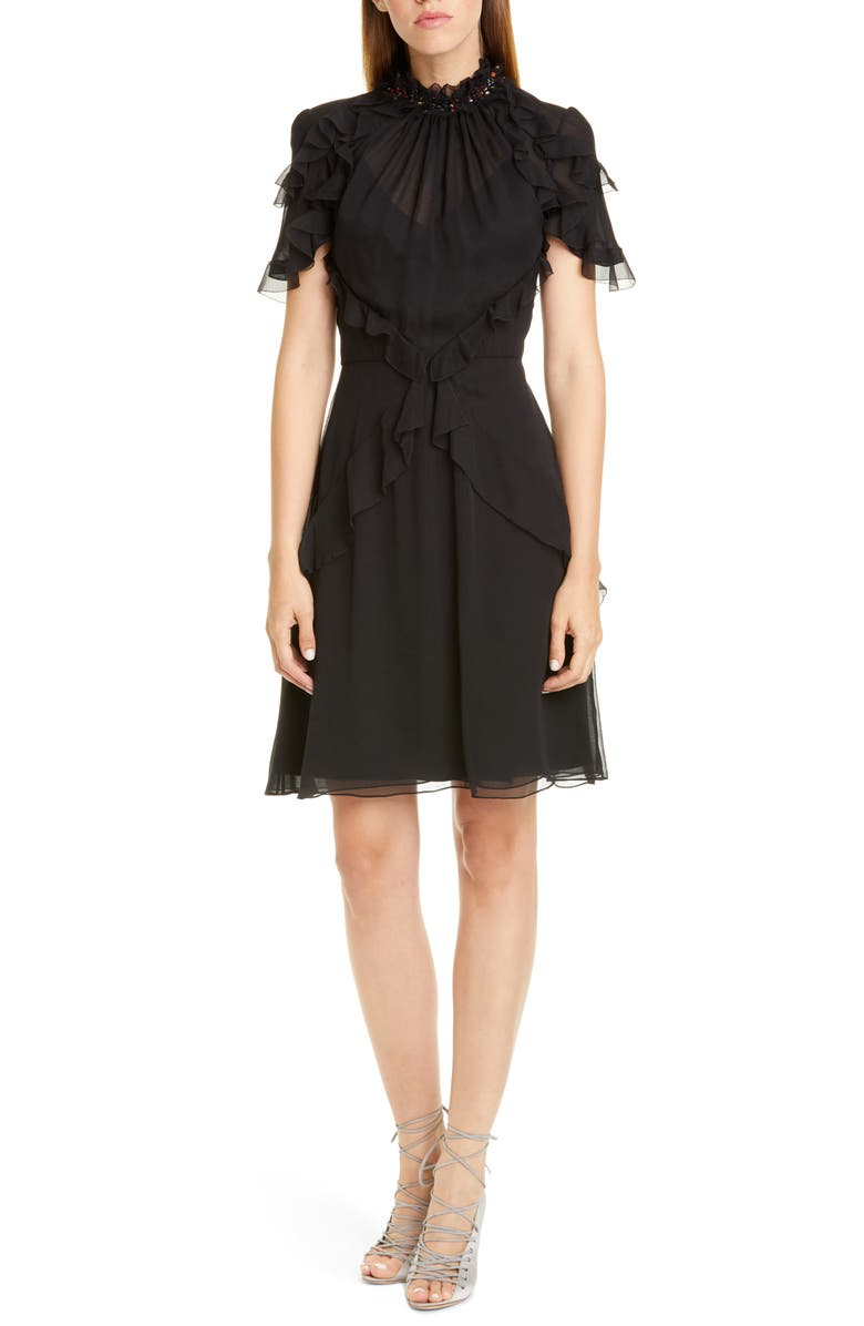 JASON WU COLLECTION Sequin Neck Ruffle Silk Chiffon Dress, Main, color, BLACK