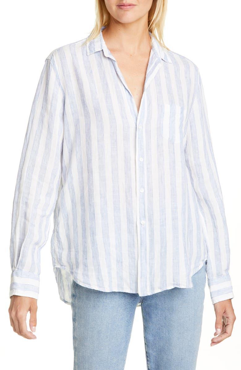 FRANK & EILEEN Eileen Stripe Linen Shirt, Main, color, WIDE BLUE STRIPE LINEN
