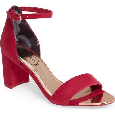 Ted Baker London Shea Ankle Strap Sandal, Red