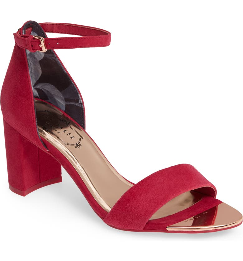 TED BAKER LONDON Shea Ankle Strap Sandal, Main, color, CERISE SUEDE