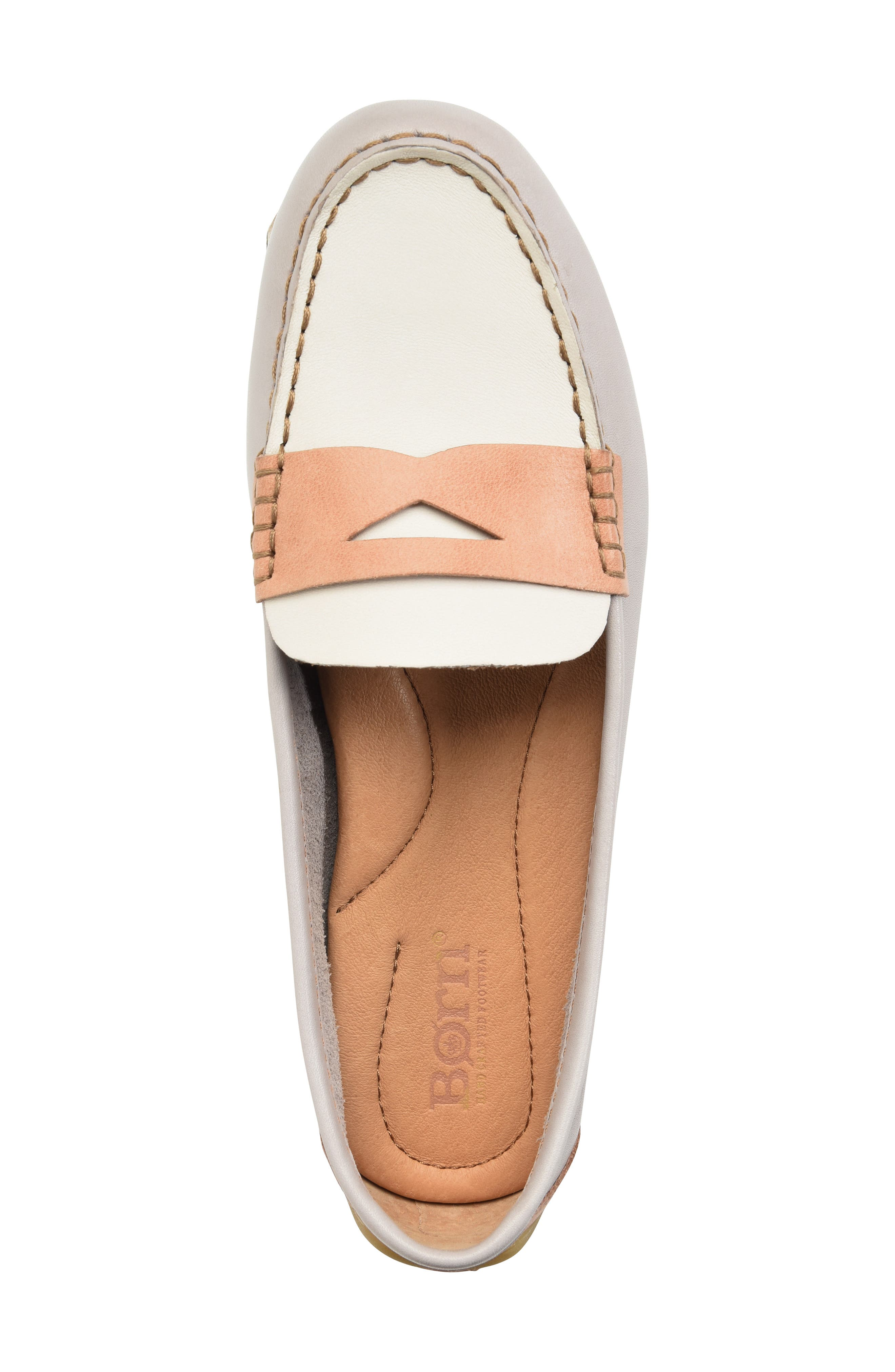 ,                             Malena Penny Loafer,                             Alternate thumbnail 5, color,                             LIT GREY/ WHITE/ BLUSH LEATHER