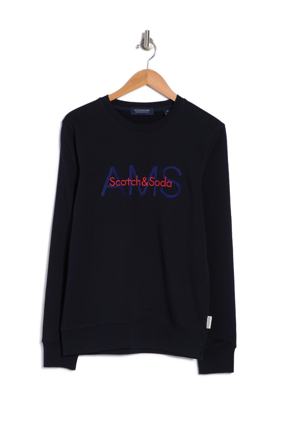 Image of Scotch & Soda Logo Print Crew Neck Sweater