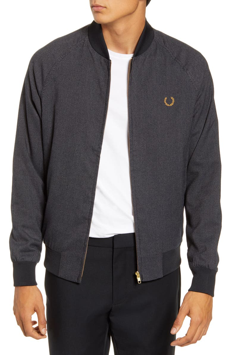 FRED PERRY Slim Fit Houndstooth Bomber Jacket, Main, color, 020