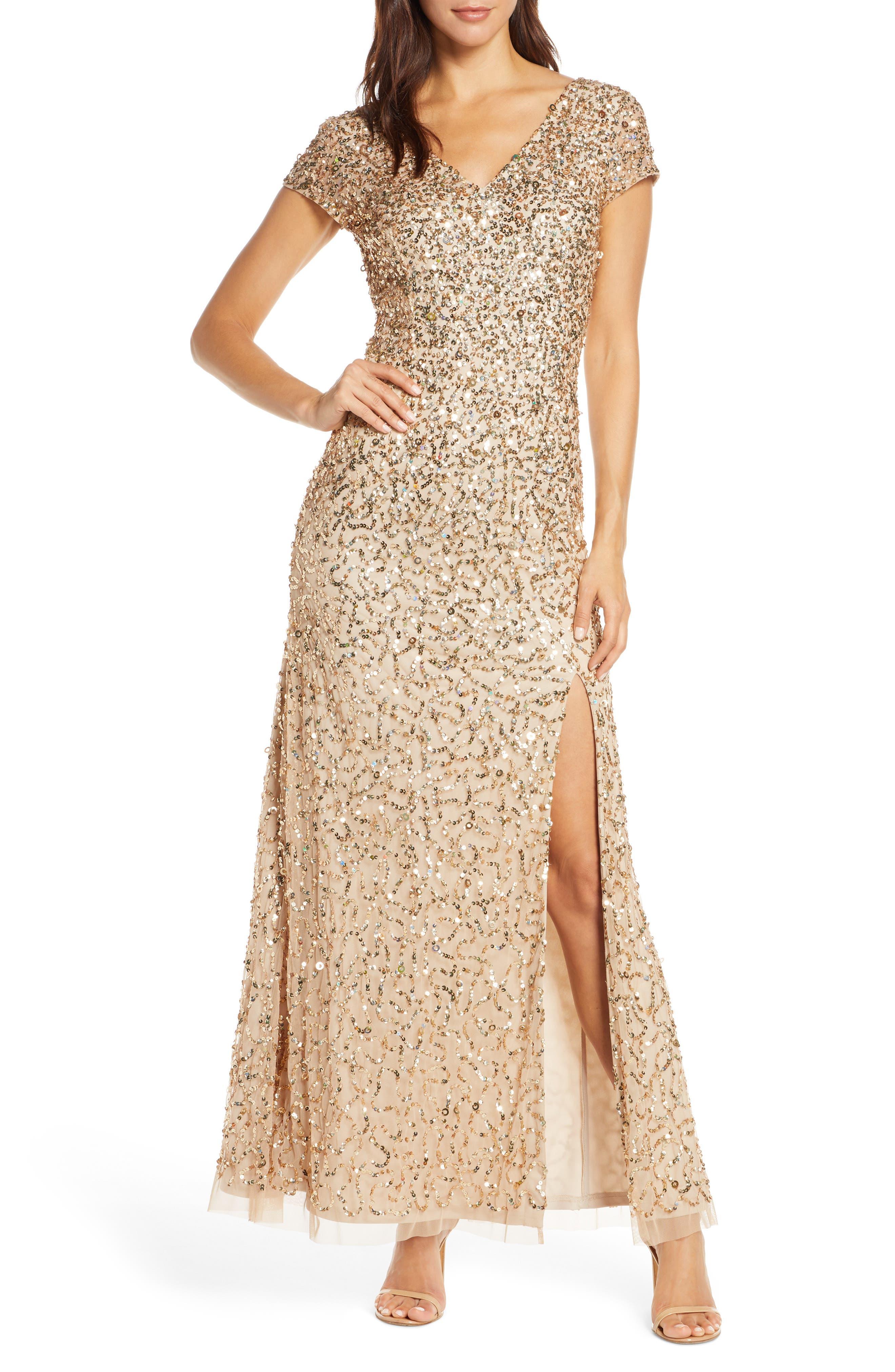 70s Dresses – Disco Dress, Hippie Dress, Wrap Dress Womens Adrianna Papell Beaded V-Neck Evening Gown $260.10 AT vintagedancer.com