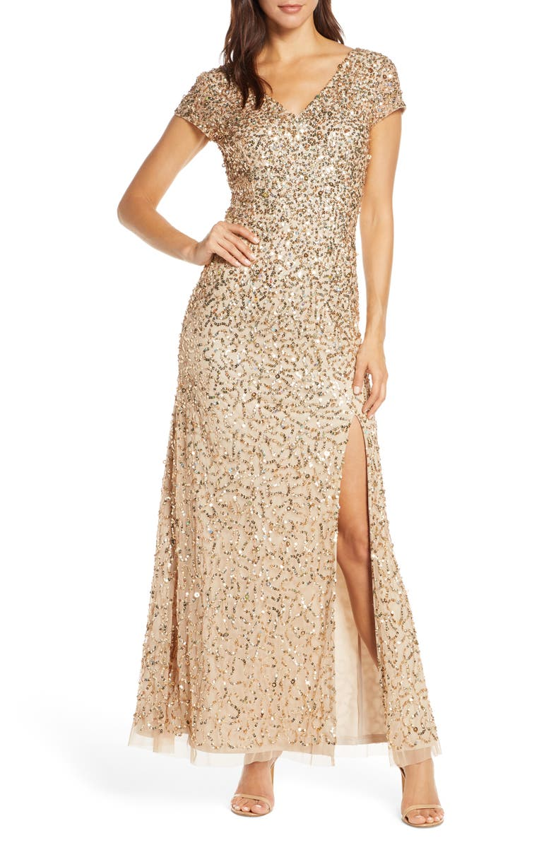 ADRIANNA PAPELL Beaded V-Neck Evening Gown, Main, color, CHAMPAGNE/ GOLD