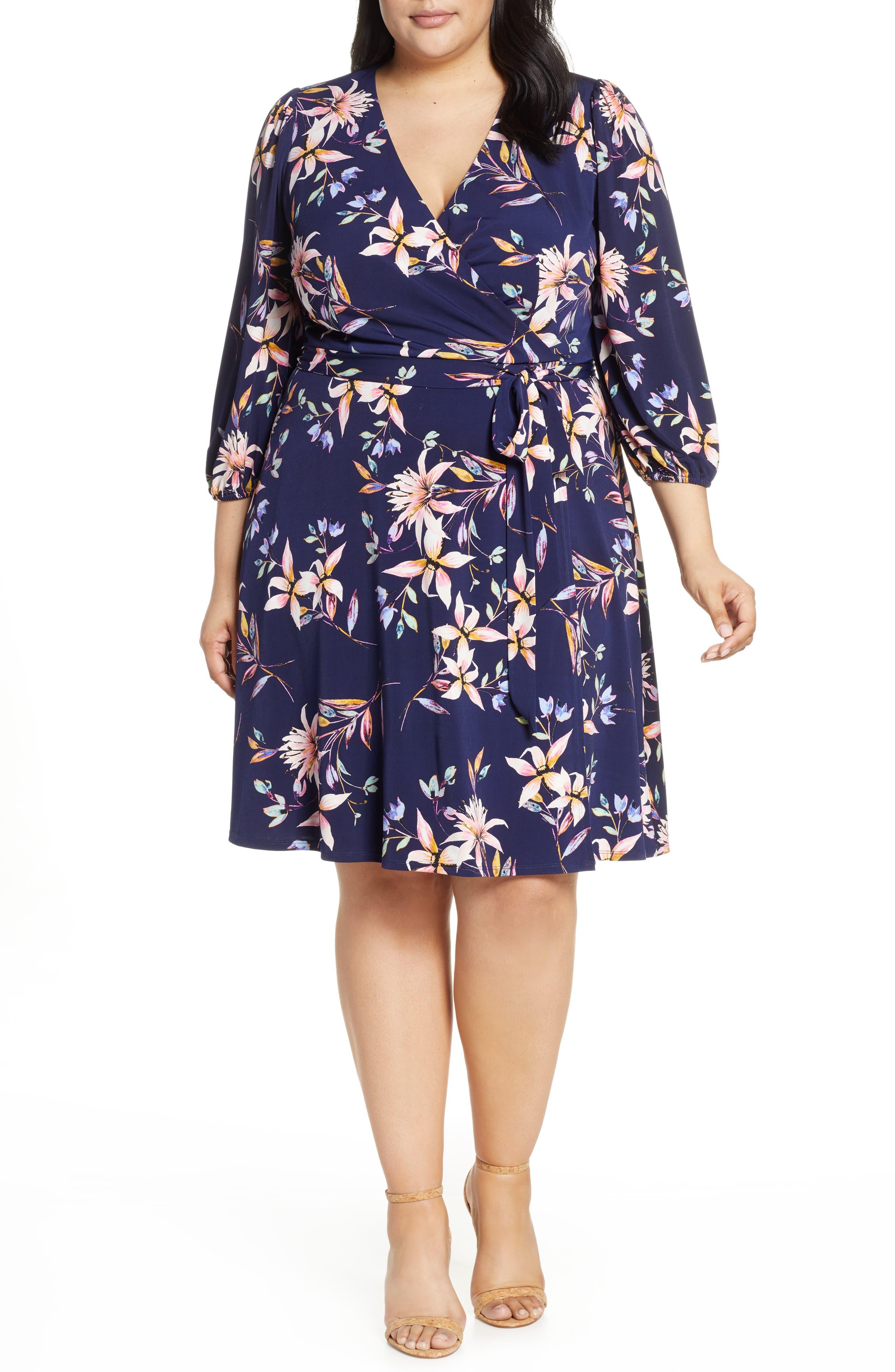 Plus Size Eliza J Flroal Print Wrap Dress, Blue