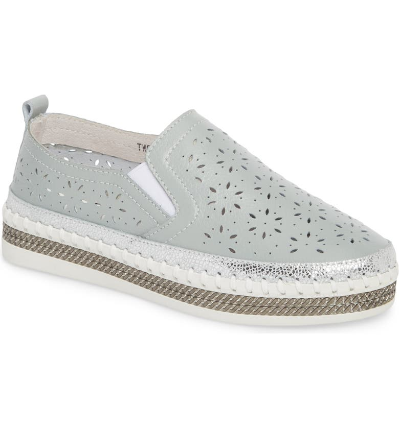 BERNIE MEV. Perforated Slip-On Sneaker, Main, color, MINT LEATHER
