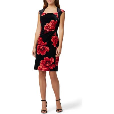 Tahari Printed Velvet Sheath Dress, Red