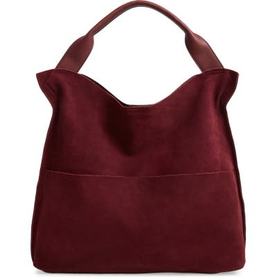 Sole Society Suede & Faux Leather Shoulder Bag - Red