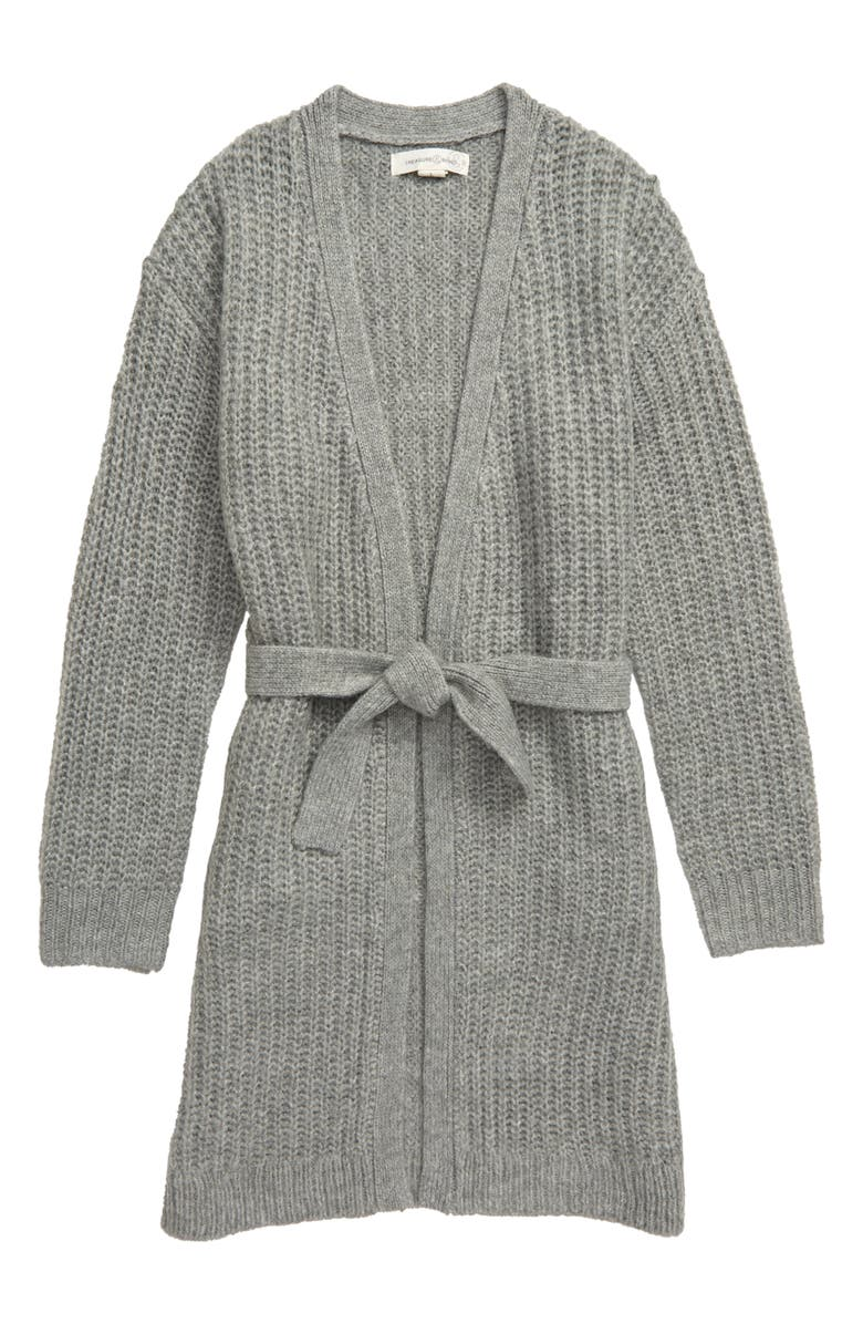 TREASURE & BOND Long Belted Cardigan, Main, color, GREY MEDIUM HEATHER