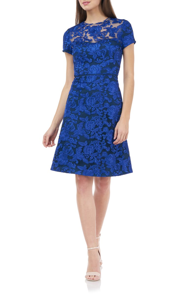 JS COLLECTIONS Embroidered Lace Cocktail Dress, Main, color, ROYAL NAVY