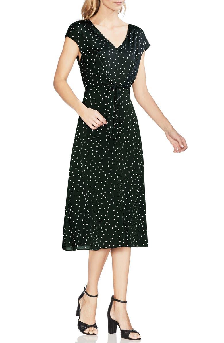 VINCE CAMUTO Polka Dot Midi Dress, Main, color, 006
