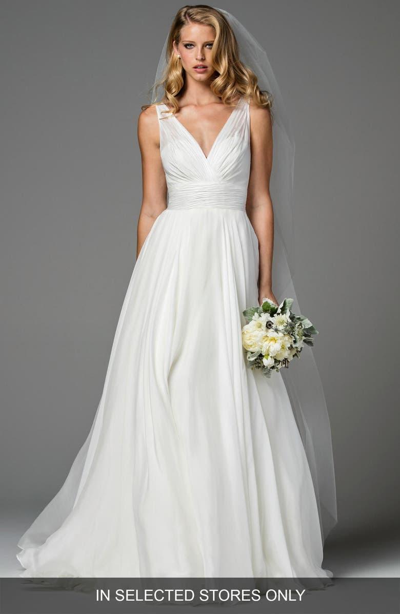WATTERS Ellen Silk A-Line Gown, Main, color, IVORY