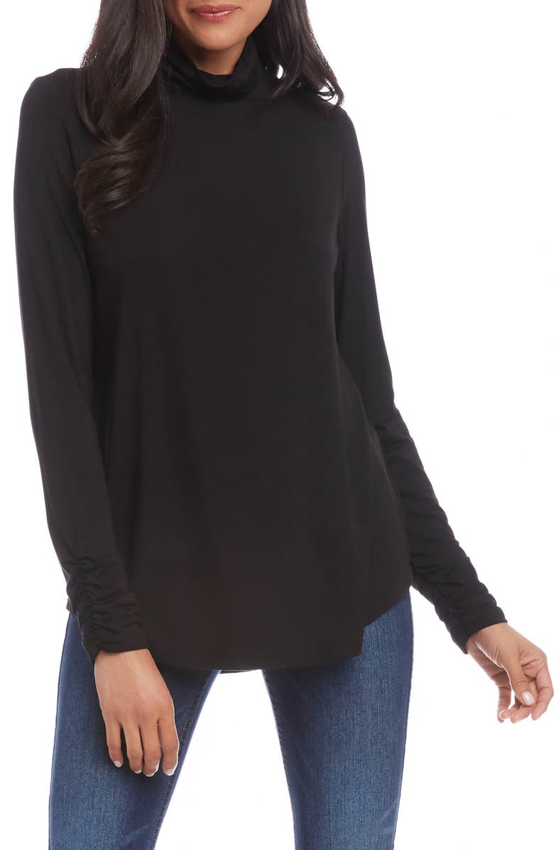 KAREN KANE Shirred Sleeve Turtleneck Top, Main, color, BLACK