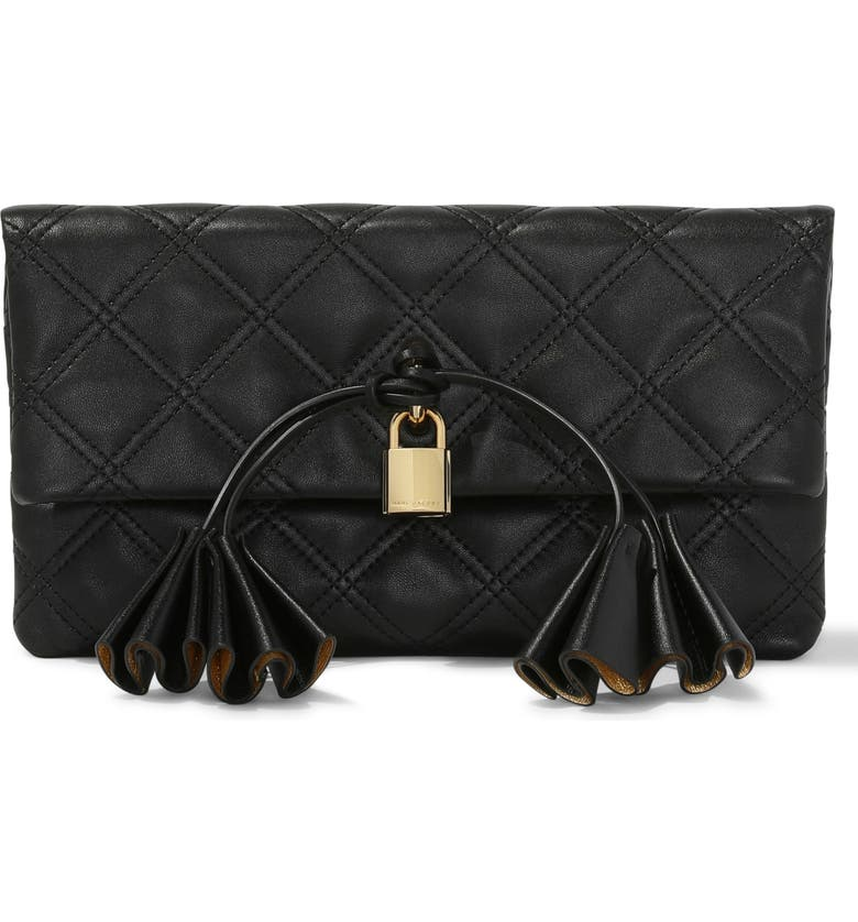 THE MARC JACOBS Sofia Loves the Leather Clutch, Main, color, 001