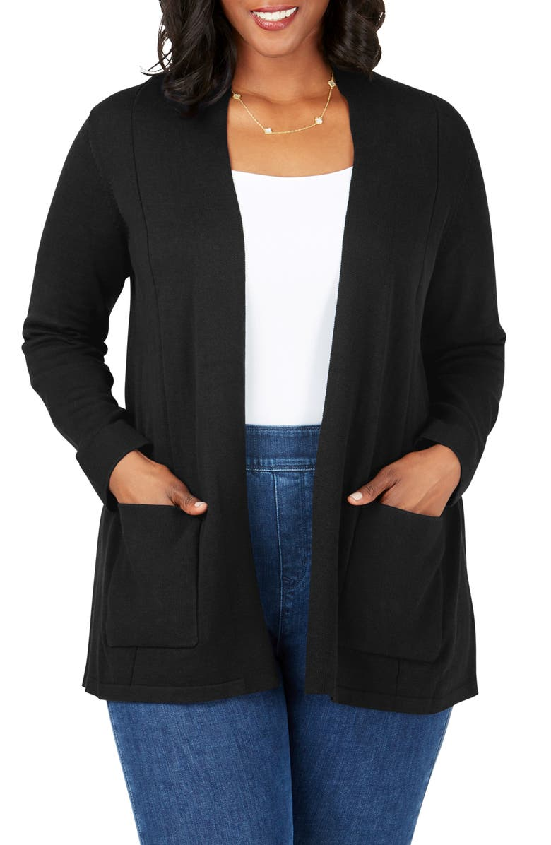 FOXCROFT Bethane Jersey Cardigan, Main, color, BLACK