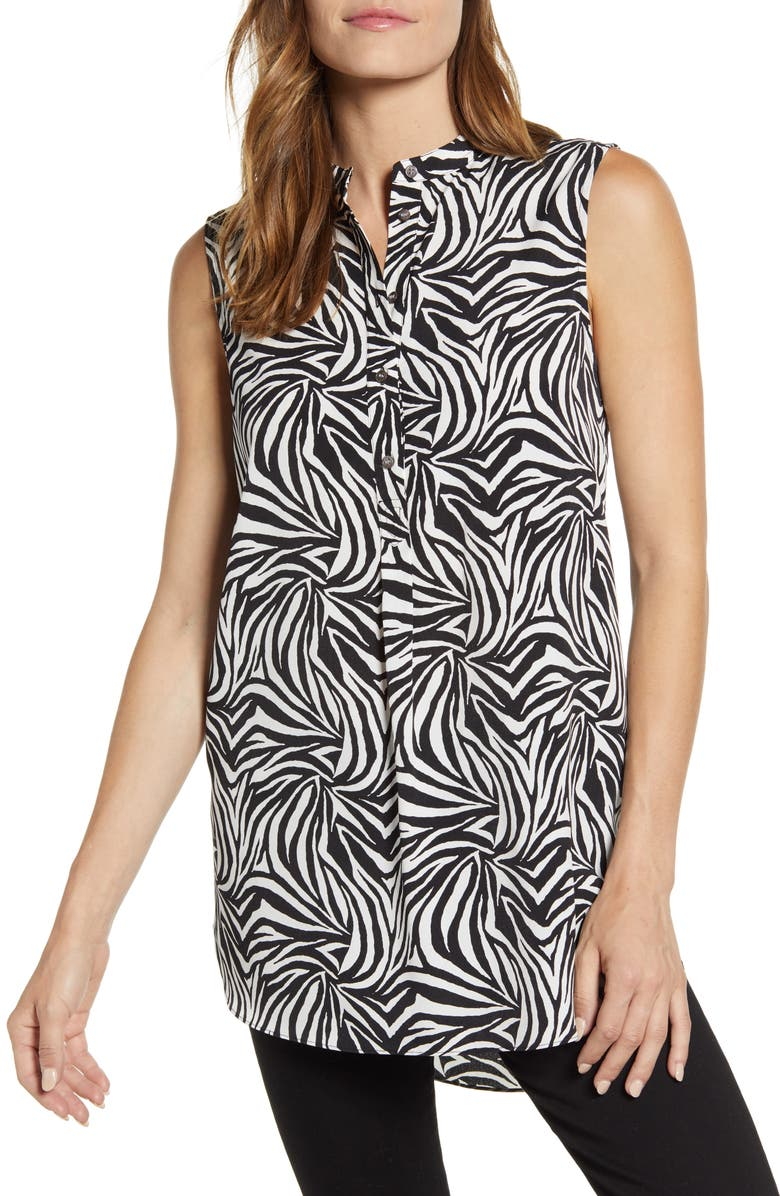 VINCE CAMUTO Zebra Print Tunic Top, Main, color, RICH BLACK