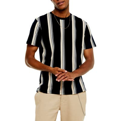 Topman Luke Classic Fit Stripe Pique T-Shirt, Blue