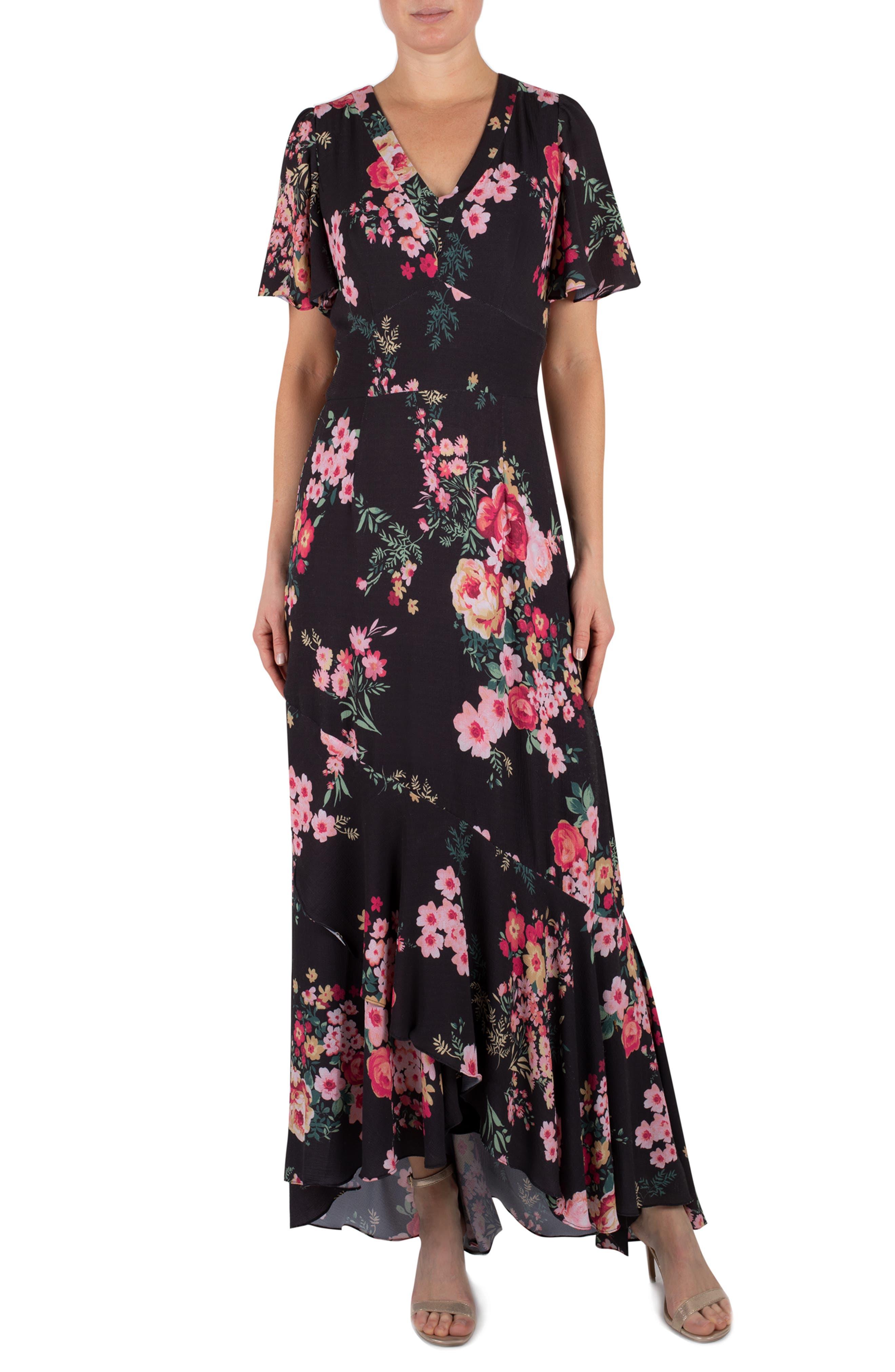 Image of Julia Jordan V-Neck Short Sleeve Floral Dress