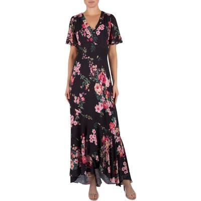 Julia Jordan Floral Short Sleeve Maxi Dress, None