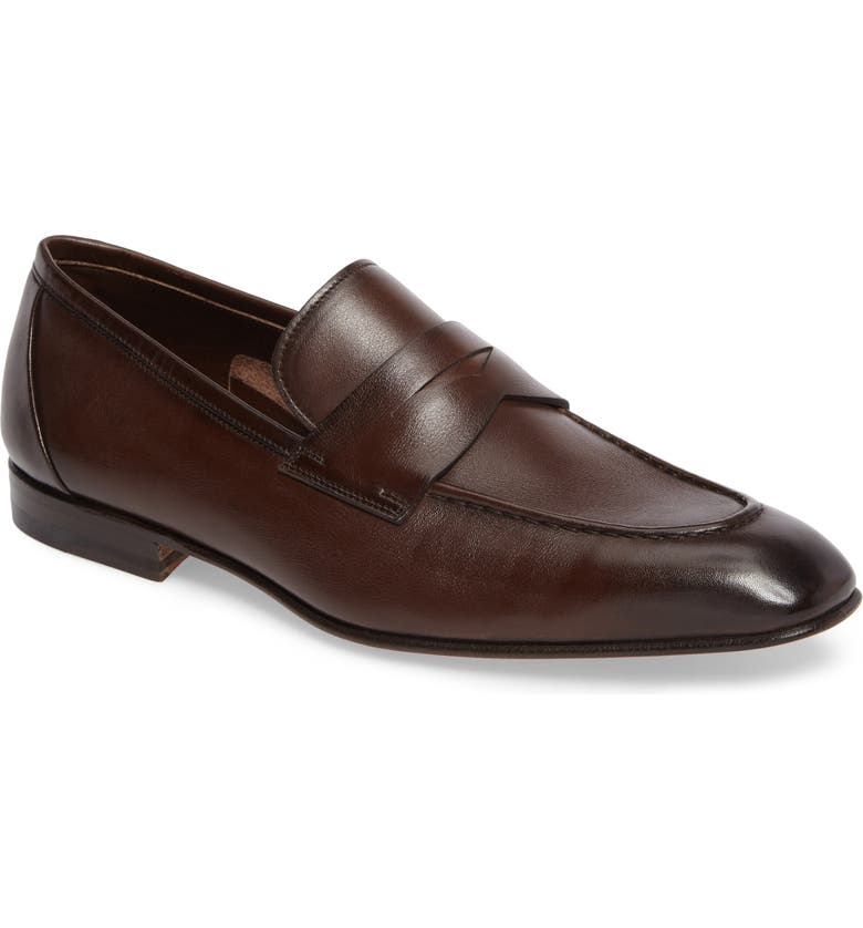 SANTONI Gannon Penny Loafer, Main, color, BROWN
