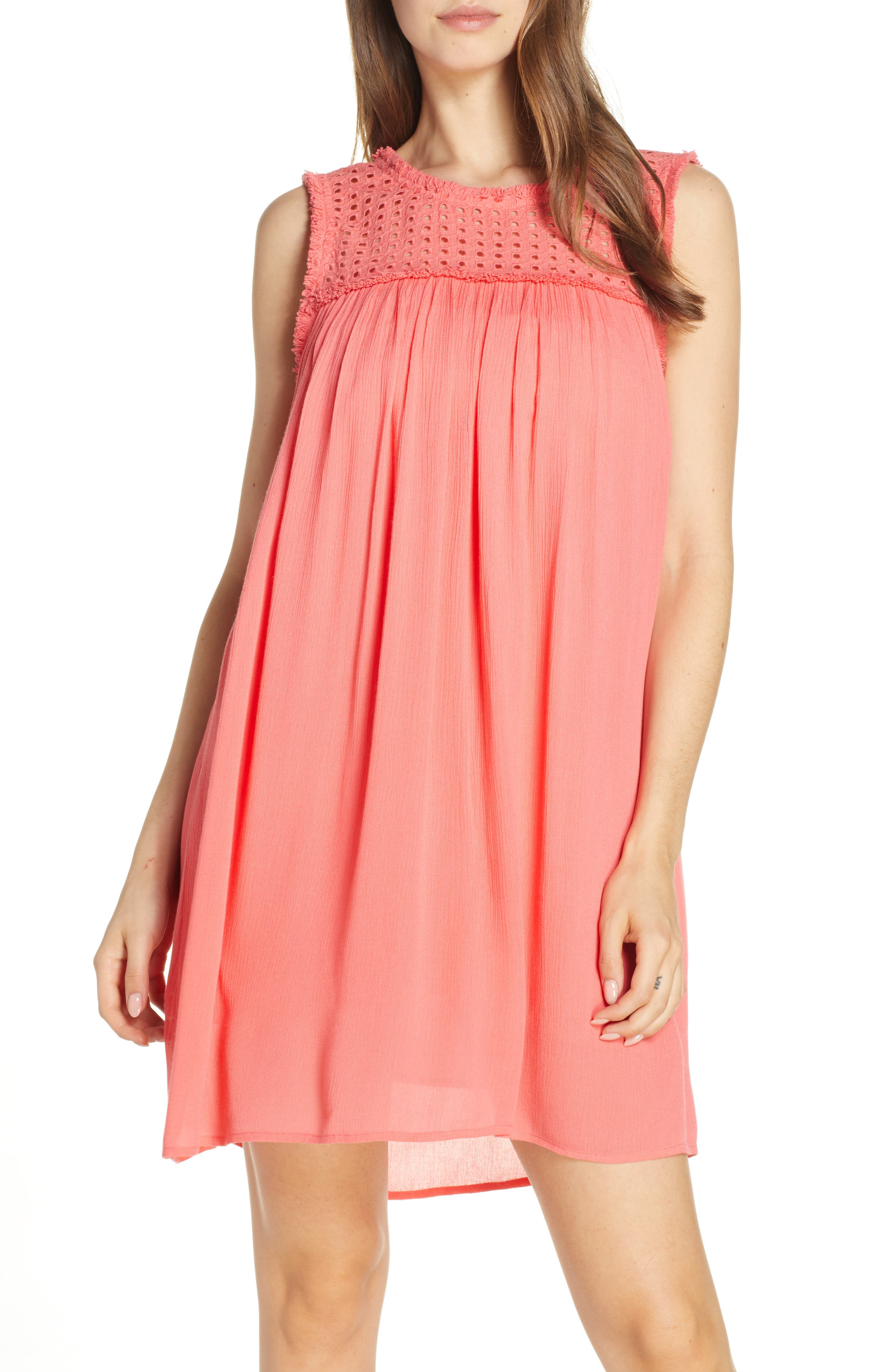 Tommy Bahama Eyelet Yoke Cover-Up Dress, Coral