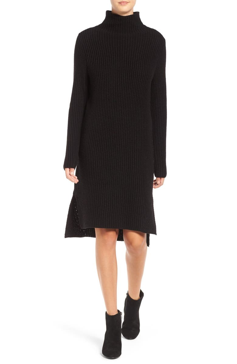 BP. Mock Neck Knit Sweater Dress, Main, color, 001
