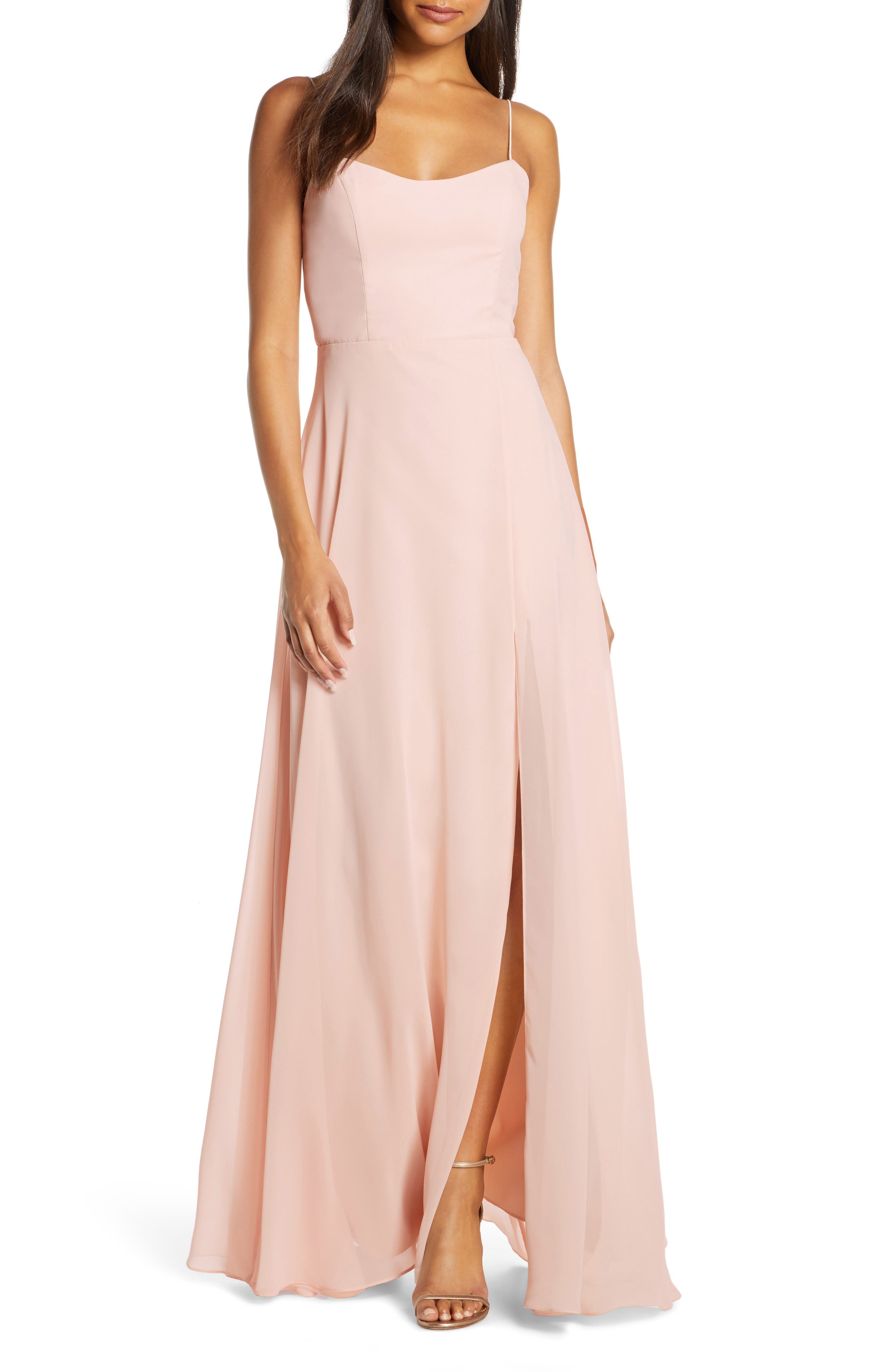 Jenny Yoo Kiara Bow Back Chiffon Evening Dress, Pink