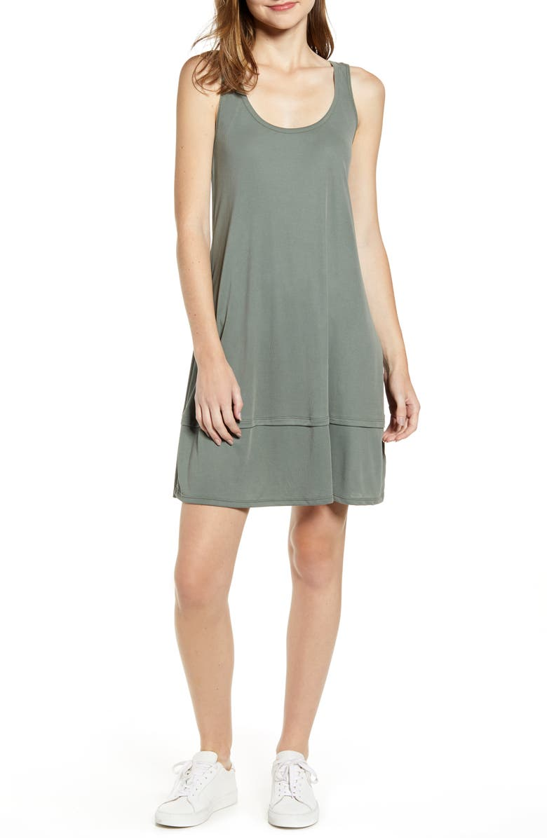 SPLENDID Washed Ribbed Jersey Dress, Main, color, MOSS