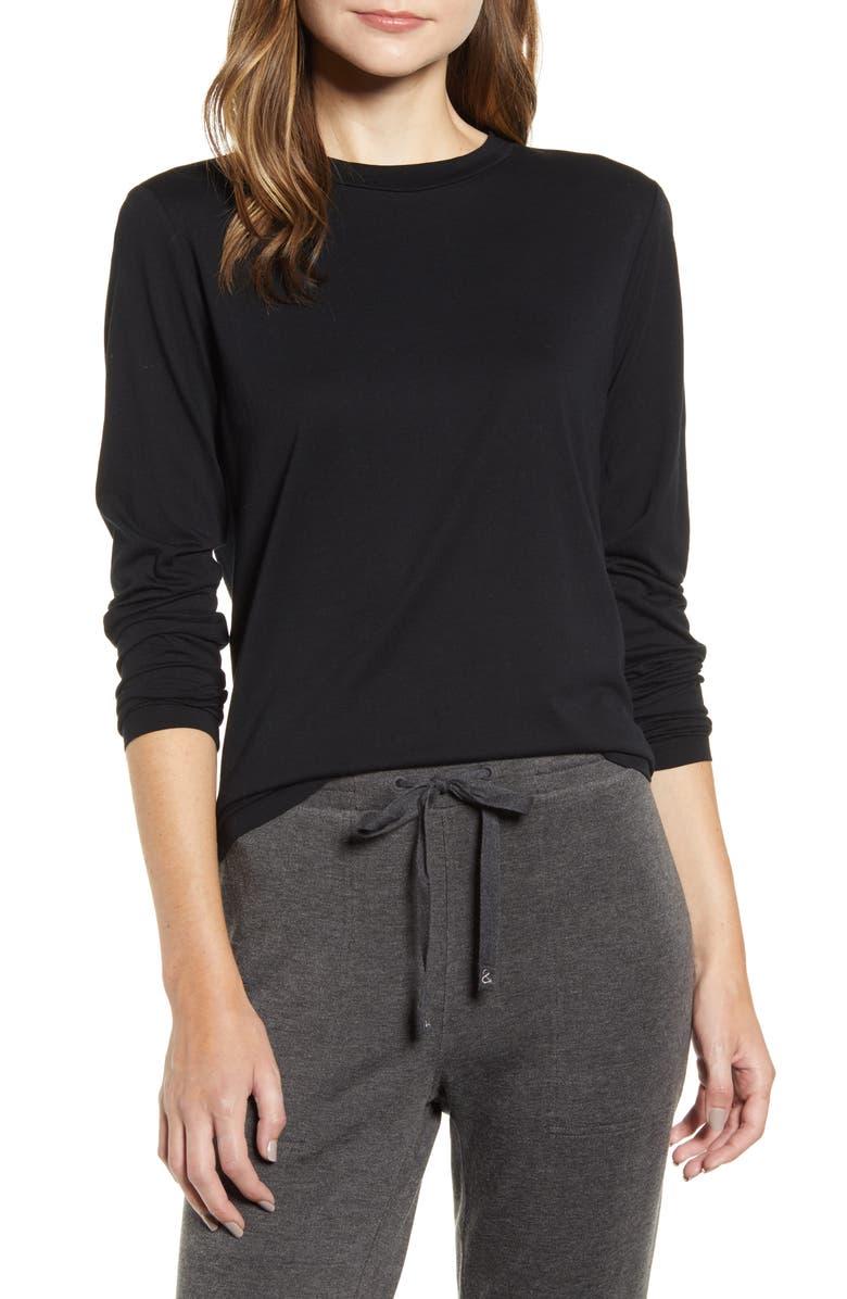 LOU & GREY Softserve Long Sleeve Tee, Main, color, BLACK